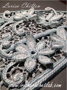 Irish Crochet. Wedding dress. Fragment.