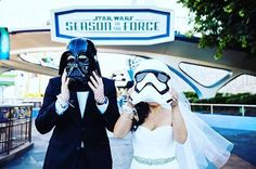Black tux, white shirt, Darth Vader mask...Star Wars wedding ideas for the groom (and the bride, too).