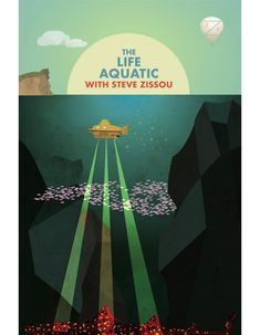 Alternative movie poster for The Life Aquatic with Steve Zissou, made by Afsoon Zizia Wes Anderson Poster, Wes Anderson Style, Wes Anderson Movies, La Famille Tenenbaum, Adobe Illustrator Cs6, The Royal Tenenbaums, Moonrise Kingdom, Alternative Movie Posters, Web Design