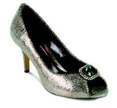 Lunar FLR187 Pewter Evening Peep Toe Shoe