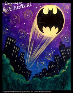 """Batman""canvas ""I'm Having an Art Attack!"" social painting parties. Original artwork by Julie Kukreja. www.artattackpaintparty.com"