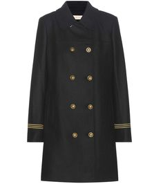 Tory Burch - Optique wool-blend coat - Cover-up on an effortless, regal note courtesy of Tory Burch's wool-blend coat. A classic black colourway lends it day-to-night appeal – it'll look just as stylish over an LBD as teamed with denim. A golden trim and double-breasted front elevate the look. - @ www.mytheresa.com