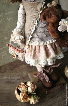 Купить Текстильная кукла Иделия.Бохо стиль. По мотивам. - коричневый, бежево-коричневый, кукла