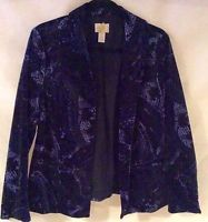 Chico's Jacket Size 8 Chico's 1 Velour Jacket GREAT FOR THE UPCOMING SEASON
