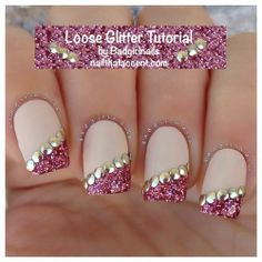pink glitter and beaded nails