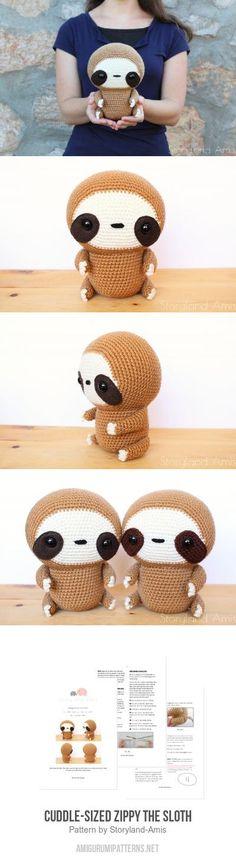 Cuddle-Sized Zippy the Sloth amigurumi pattern