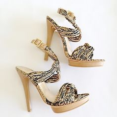 SALESnake Print Sandal Heels NWB Beautiful Snake Print Sandal Heels. Victoria's Secret Shoes Heels