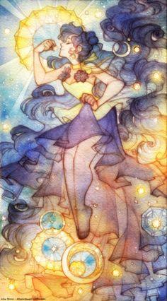Allie: do art, Stars and Luna - Pencil, watercolor, adobe Sailor Moons, Sailor Moon Luna, Sailor Jupiter, Sailor Neptune, Luna Et Artemis, Sailor Moon Kristall, Manga Art, Anime Art, Character Art