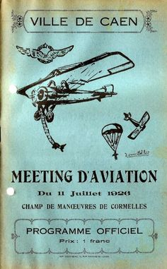 Cover of programme for Caen air show 11 July 1926. CAEN 11 juillet 1926 meeting d'aviation.