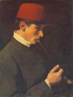 Man Smoking a Chibouk aka Zsigmond Szinyei Merse with a chibouk, 1866 by Pál Szinyei Merse (Hungarian Man Smoking, Head & Shoulders, World's Fair, Love Painting, Lovers Art, Budapest, Oil On Canvas, Gallery, Painters