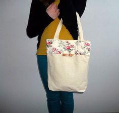 Handmade bag cotton fabric shoulder bag hand bag zipper by ILAJLA, $30.00
