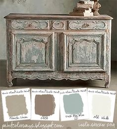 COLORWAYS Sideboard from Soft Surroundings inspire a color palette of soft neutrals. To recreate use Annie Sloan Chalk Paint®, French Linen, Coco, Duck Egg Blue, Old White by Lenore Armstrong Annie Sloan Painted Furniture, Annie Sloan Paints, Distressed Furniture, Annie Sloan Chalk Paint Colors, Painted Furniture French, Distressed Dresser, Old Furniture, Shabby Chic Furniture, Furniture Makeover