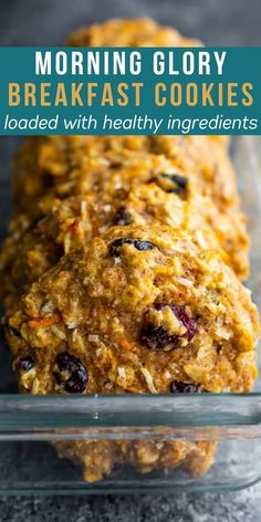 These morning glory breakfast cookies are loaded with healthy ingredients including carrots, ground flax, applesauce and eggs. The perfect portable meal prep breakfast or snack on the go! #sweetpeasandsaffron #mealprep #breakfast Breakfast Cookie Recipe, Delicious Breakfast Recipes, Brunch Recipes, Snack Recipes, Healthy Recipes, Bar Recipes, Brunch Ideas, Cookie Recipes, Saffron Recipes