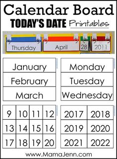 Calendar Board Printables  Activities  Calendars Communication
