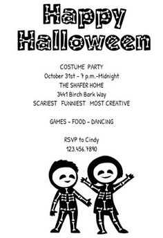 """""""Skeleton Party""""  printable invitation template. Customize, add text and photos. Print or download for free!"""