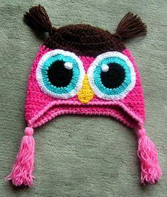 süße gehäkelte Mütze  für Kopfgröße 48cm  braun - pink - rosa
