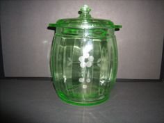 Depression-Green-Glass-Cracker-Cookie-Jar-Lid-Etched-Floral-Optic-Ribbed-8x6 .