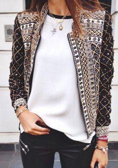 Multicolor Plaid Print Zipper Band Collar Long Sleeve Casual Cotton Blend Jacket