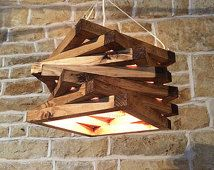 Handmade Rustic Ceiling Light Pendant Lamp Fixture Light Fitting Shade Rustic Wood Wooden Spiral Modern Abstract Contemporary Light