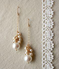 Drop Pearl Earrings, Bridal Jewelry, Wedding Earrings. $85.00, via Etsy.