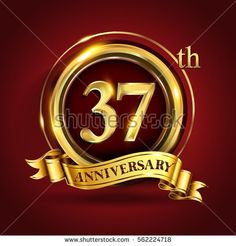 Celebrating 37th golden anniversary, thirty seven years birthday logo celebration with gold ring and golden ribbon.