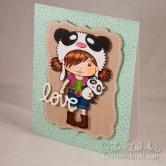 Copic Coloring of the adorable Panda Marci La-La-Lands stamp + enamel accents on the sentiment and tone-on-tone background stamping. {by Britta Swiderski}