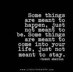 Some things are meant to happen, just not meant to be. Some things are meant to come into your life, just not meant to stay.