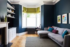 Super talented interior designer Beth Dadswell from has used our Oak Aged Parquet for this lovely living room. Love the dark walls and the hint of lime to bring the room alive. Love our wooden floor too but that goes without saying! Navy Living Rooms, Living Room Green, Blue Rooms, White Rooms, New Living Room, Living Room Sofa, Home And Living, Living Room Decor, Living Room With Bay Window