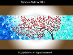 "Art Painting Original Painting Impasto OIL Landscape Painting flowers tree Canvas art Office Wall Decor ""Fall Breeze"" by qiqigallery"