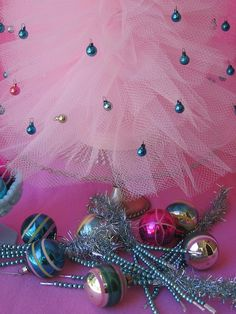 shabby pink and aqua tulle christmas tree made by me!