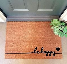 """be happy"" Large Coir Doormat 24"" x 35"""
