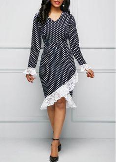 V Neck Polka Dot Print Lace Panel Dress on sale only US$33.95 now, buy cheap V Neck Polka Dot Print Lace Panel Dress at liligal.com#christmas #christmasgifts #dress #dresses #winter #fall #liligal