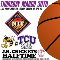 Thursday Night come show your support for our @gtmensbasketball #YellowJackets as they compete for the #NIT vs @tcumbb #HornedToads live from #MadisonSquareGarden Game time tipoff is 8pm ET