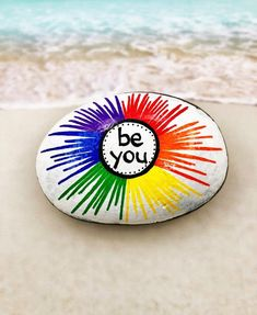 Rock Painting Ideas Discover Be You Rock Rainbow Rock Rainbow Painted Rock Words of Encouragement Stone Affirmation Rocks Painted Rock Be You Rainbow Painting Rock Painting Patterns, Rock Painting Ideas Easy, Rock Painting Designs, Paint Designs, Rock Painting Ideas For Kids, Pebble Painting, Pebble Art, Stone Painting, Diy Painting