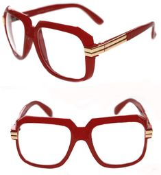 eaaf5216c991 Men s Hip Hop 80 s Vintage 607 Clear Lens Eye Glasses Grandmaster Red Gold  Retro  Unbranded