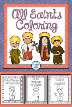 Printable pages of Catholic Saints for kids to color. Great for Religious Education and Faith Formation for All Saints' Day.