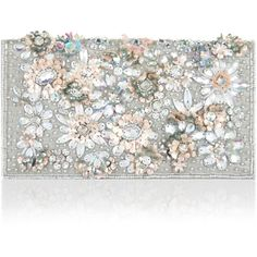 Accessorize Irridescent 3D Floral Clutch Bag ($59) ❤ liked on Polyvore featuring bags, handbags, clutches, embellished handbags, floral handbags, flower print handbags, flower print purse and accessorize handbags