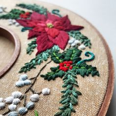 Holiday Wreath Embroidery Pattern (PDF) - with Video Tutorial