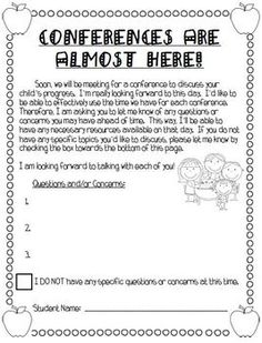 Use these forms and ideas to help guide your parent/teacher conferences!  This packet will help your conferences run smoothly, be very informative, and give parents ideas and strategies to help their child at home.  This packet includes:Printables and directions on how to make the Parent/Teacher Conference Bulletin BoardParent/Teacher Conference Forms which include:Welcome SignParent/Teacher Conference NoteConference Appointment NoticeParent Questions/Concerns NoteMissed Your Conference ...