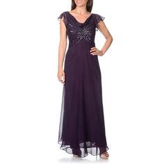 J Laxmi Women's Beaded Sequined Cowl Neck Flutter Sleeve Evening Gown