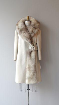 Doyenne fox collar coat fox fur 60s coat vintage by DearGolden                                                                                                                                                                                 More