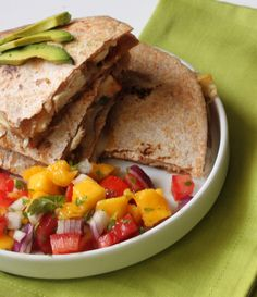 jamaican jerk chicken quesedilla- great recipe! I added the avocado into the salsa and it was great.