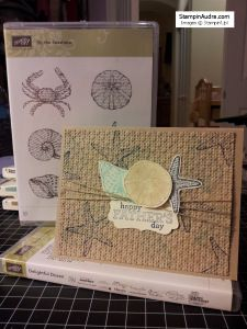 Stampin'Up! Father's Day Card: By the Seashore, Delightful Dozen, Decorative Label punch, Linen thread