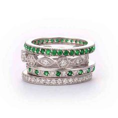 SusanB: SusanB.flawless Simulated Diamond and Emerald Stackable Bands Set of 4 Rings Sterling Silver - SusanB
