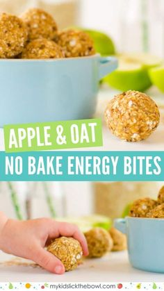 Kids Meals healthy apple oat no bake bites, these energy balls make a healthy breakfast or healthy snack for kids - healthy apple oat no bake bites Healthy Evening Snacks, Healthy Snacks For Kids, Healthy Foods To Eat, Eating Healthy, Snacks Kids, Healthy Weight, No Bake Energy Bites, Energy Balls, Healthy Recipes