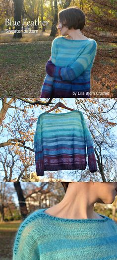 Light and transparent knitted sweater made with alpaca and mohair yarns. The shape is very simple: no increases, no decreases and only 2 basic knitting stitches are used. Free tutorial by Lilla Bjorn Crochet.