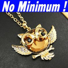 Gold plated Crystal owl necklace long necklaces & pendants for women 2014  flying fairy vintage necklaces cheap jewelry nke-h76