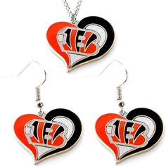 Cincinnati Bengals Women's Swirl Heart Necklace & Earrings Set