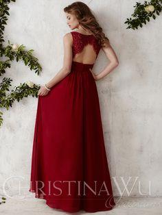 Crew Neck Chiffon A-line Christina Wu Occasions Bridesmaid Dress 22675