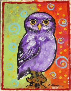 Original Acrylic Purple OWL PAINTING   Boy Girl by calicoartist